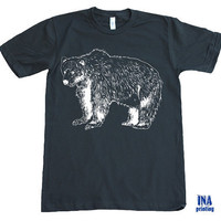 Mens t shirt Black - BROWN BEAR  American Apparel  S M L XL (9 Colors Available)