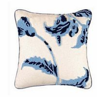 Brighton Blue Toile Blue On White Floral Hooked Throw Pillow | Atlantic Linens