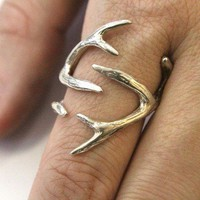 Sterling Silver Whitetail Deer Antler Ring - Moon Raven Designs