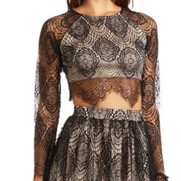 Long Sleeve Lace Crop Top by Charlotte Russe - Black