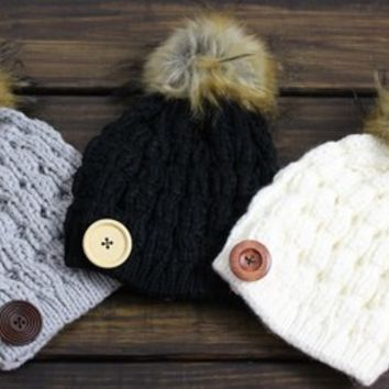 Pom Pom Beanie, Knitted Hat, Women's Pom Pom Beanie, Slouchy Beanies, Cable Knit Hat, Winter Hat, Grey, Ivory, Black, Knitted Hat, Buttons from My fashion creations