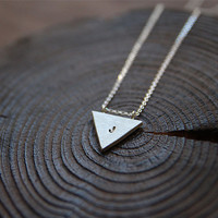 Triangle Initial Necklace, Sterling Silver Triangle Necklace, Personalized Triangle Necklace, Hand stamped, Geometric Triangle Necklace