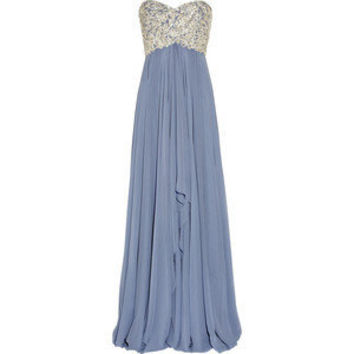 Embellished silk-chiffon strapless gown - Marchesa - Polyvore