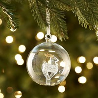 Glass Ball with Deer Ornament
