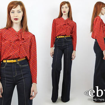 Vintage 80s Red Printed Ruffle Blouse M Red Blouse Longsleeve Blouse Ruffled Blouse Red Shirt Printed Blouse Secretary Blouse Work Blouse