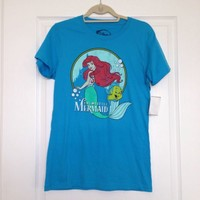 The Little Mermaid Ariel And Flounder T-Shirt In Blue Junior Size Large
