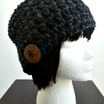Chunky Crochet Charcoal Grey Gray Slouchy Womens Hat Baggy Hipster Winter Beani
