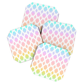 Lisa Argyropoulos Daffy Lattice Pastel Rainbow Coaster Set - 4 Coasters