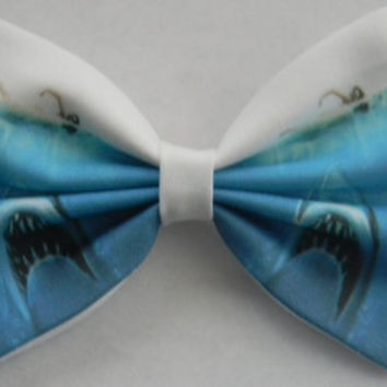 Jaws Inspired Classic Hair Bow or Clip On Bow Tie