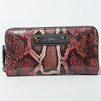 The Signature Snake Zip Around Wallet in Burgundy Snake