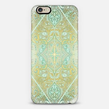 Mint & Faux Gold Effect Diamond Doodle Pattern iPhone 6 case by Micklyn Le Feuvre | Casetify