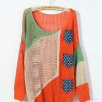 Orange Hollow Out Bat Sleeve Sweater$44.00