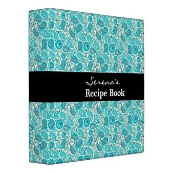 Elegant Teal Paisley pattern 3 Ring Binder