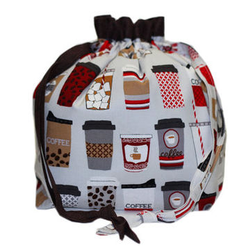 NEW Coffee Cups Knitting Project Bag | Coffee Drawstring with Divider | Two at a Time Knitting Bag