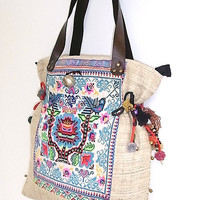 White Tote Handbag Embroidered Vintage HMONG Fabric Genuine Leather Strap (BG040.804)