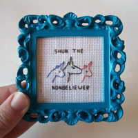 Shun the Nonbeliever - Charlie the Unicorn cross stitch, completed and framed