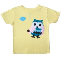 Adorable Owl Toddler Shirt - Handmade Felt Appliqued T-Shirt