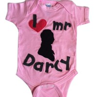 I Love Mr. Darcy Bodysuit - Handmade Felt Appliqued Onesuit