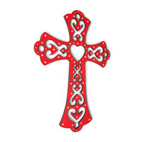 Decorative Cross, hand painted cross in red with cut out flourishes and hearts, white polka dots, wooden cross, Scandinavian style cross
