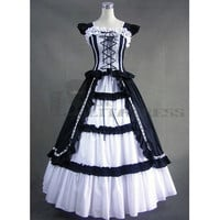 Graceful Sleeveless Bandage Ruffles Black and White Gothic Victorian Funny Fancy Dress for Sale [TQL120427071] - £64.59
