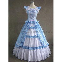 Discount Sleeveless Bandage Ruffles Blue Fancy Dress Gothic Victorian Dress [TQL120427096] - £64.59