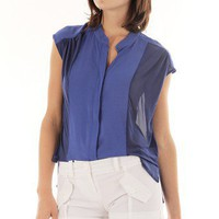 BLUE PLEATED BUTTON DOWN SHEER TOP @ KiwiLook fashion