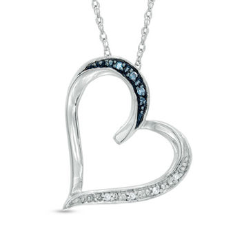 Enhanced Blue and White Diamond Accent Tilted Heart Pendant in Sterling Silver