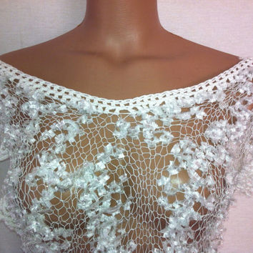 Hand knitted white transparent low back blouse for spring&summer