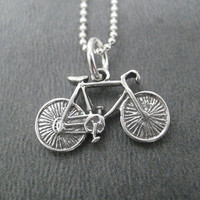 BIKE - JUST BIKE - 18 inch Sterling Silver Bicycle Necklace on 16 inch Sterling Silver Ball chain - Triathlon Necklace