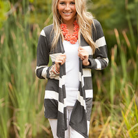 The Perfect Striped Cardigan Charcoal CLEARANCE