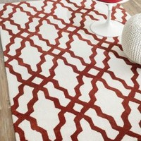 Elegance Cotton and Wool Trellis VST28 Red Rug