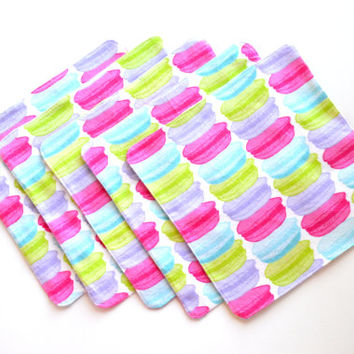 2-Ply No-Fray Cotton Flannel Cloth Wipes, Colorful Macaroons, Unpaper Napkins, Baby Diaper Wipes
