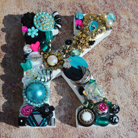 Custom girls decorative letter,  vintage jewelry and button embellished mosaic inital