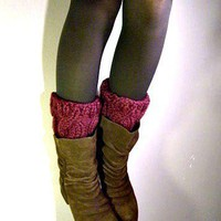 Boot Cuffs cable knit boot covers - Plum