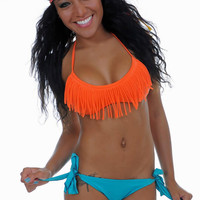 Burnt Orange Fringe Bikini Top