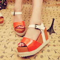 Platform Wrapped Buckle Girls Sandals Orange  : Wholesaleclothing4u.com