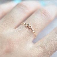 SHIP FREE Tiny Infinity Chain Ring (Gold Filled)
