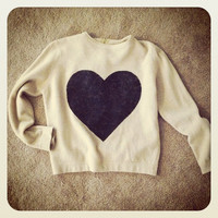 Heart Sweater hand stenciled camel and black vtg OOAK upcycled