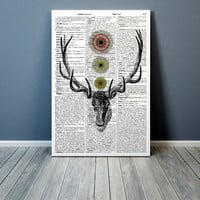 Deer print Mandala poster  Dictionary art Modern decor