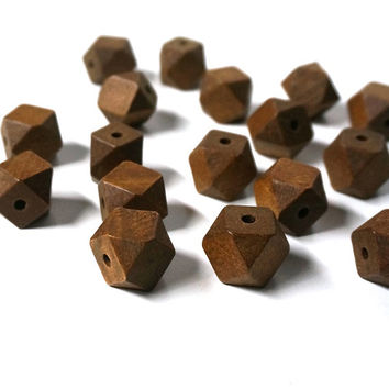 Large Faceted Wood Beads, 20mm handcut brown cubes, 25 eco-friendly wooden beads (542R)