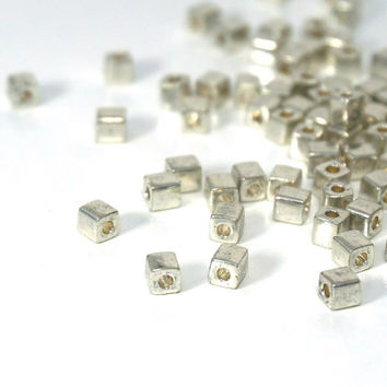 silver glass, 4mm cube beads, metallic Miyuki cubes, 200 beads (807SB)