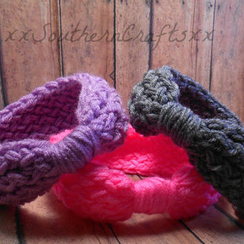 Baby Headwrap Headband Set Girl Gift  in Pink Grey and Purple