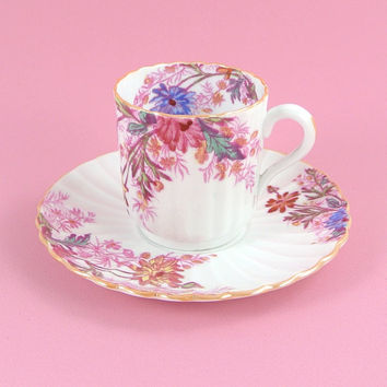Vintage Demitasse Cup and Saucer,  English Bone China, Spode Copeland Chelsea Garden, Pink and Blue Flowers