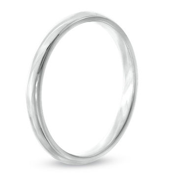 Ladies' 2.0mm Comfort Fit Polished Wedding Band in 10K White Gold