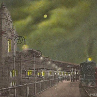 WORCESTER Massachusetts Union Station at Night Vintage Postcard - New Million Dollar Train Station with Locomotive under full moon
