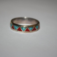 Turquoise Coral Sterling Vintage Ring Band Size 12 - free ship US