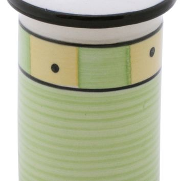 SouvNear Elegant Light Green & Yellow Ceramic Toothbrush Holder - Handmade Bathroom Accessory from India