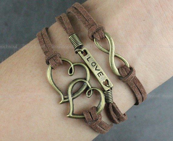 Couple bracelet - bronze love bracelet infinity bracelet, velvet rope bracelet, the best couple gift, men and women gift