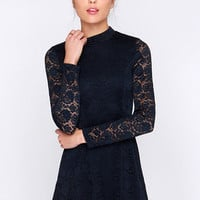 Give It a Glance Navy Blue Lace Dress
