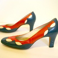 60&#x27;s RED, WHITE, &amp; BLUE Heels - 8 by NaikFUR on Sense of Fashion